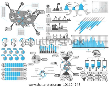 INFOGRAPHIC GASOLINE UNITED STATES AMERICA BLUE - stock vector