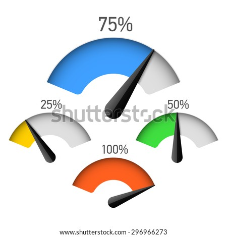 Infographic gauge chart element with percentage vector illustration - stock vector