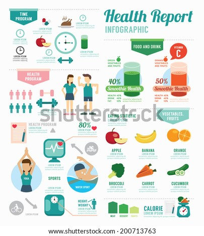 Infographic health sport and Wellness template design . concept vector illustration - stock vector