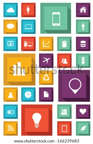 Infographic Icon set for Web and Mobile Applications. Vector  - stock vector