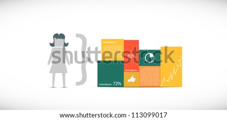 Infographic illustration with a girl - stock vector