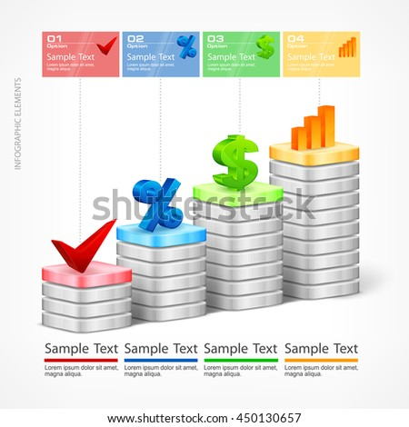 Infographic indication chart elements text vector illustration - stock vector
