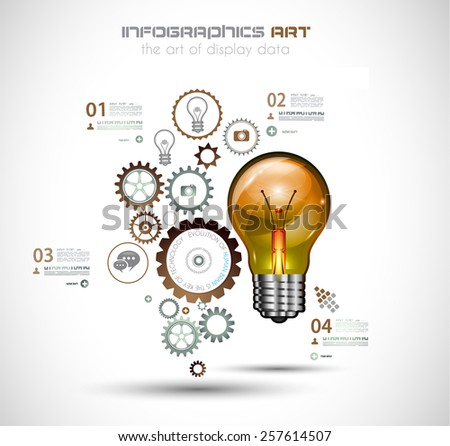 Infographic Layout for Brainstorming Concept background with graphs sketches. A lot of hand drawn infographics and related design elements are included plus 3D glossy lamp. - stock vector