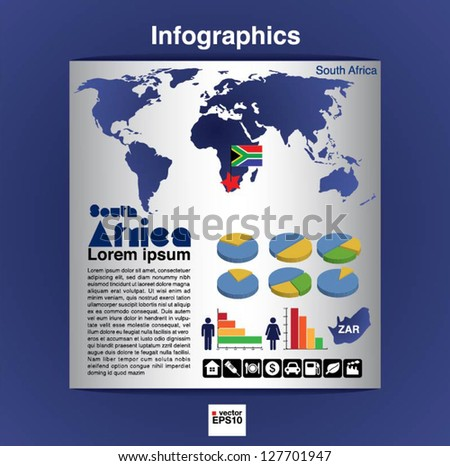 Infographic map of Africa show population and consumption  statistic information.EPS10 - stock vector