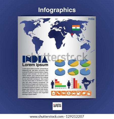 Infographic map of India show population and consumption statistic information.EPS10 - stock vector