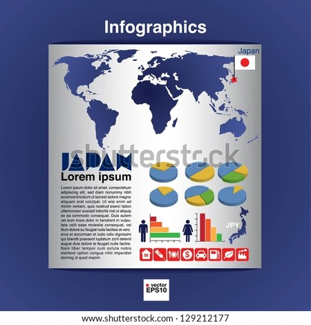 Infographic map of Japan show population and consumption statistic information.EPS10 - stock vector