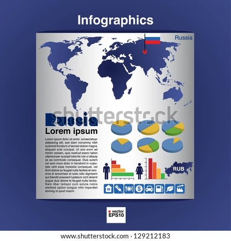 Infographic map of Russia show population and consumption statistic information.EPS10 - stock vector
