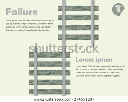 infographic mistake and failure concept, mistake railway. - stock vector