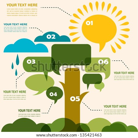 infographic of ecology, concept design of garden with tree, sun and clouds - stock vector