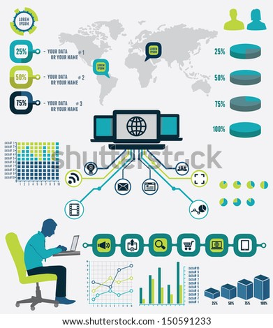 Infographic of network analytics - vector illustration - stock vector