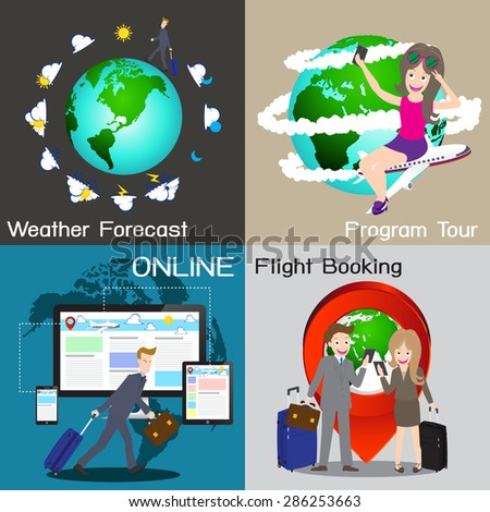 Infographic of travel online service chart diagram, vector, illustration. - stock vector
