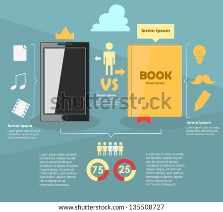 infographic. old vs. new - stock vector