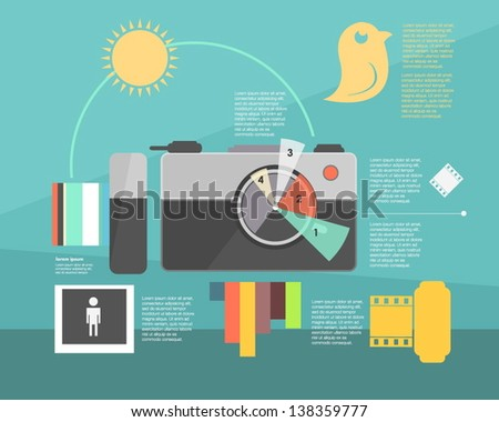 infographic. photo camera - stock vector