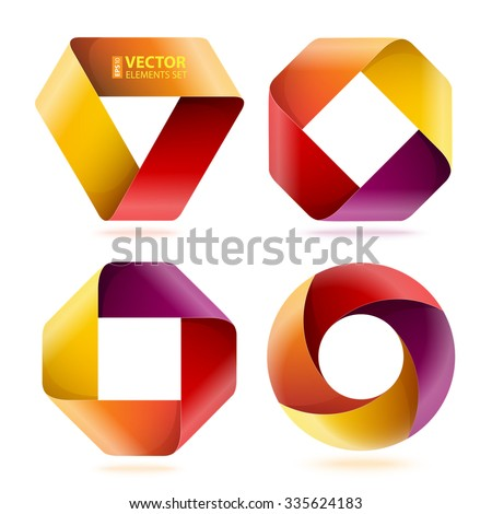 Infographic red, orange, yellow and purple curled paper triangle, rectangle and circle shapes on white background. RGB EPS 10 vector illustration - stock vector