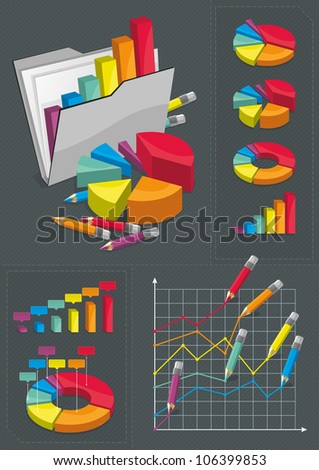 Infographic Set - Colorful Charts - stock vector
