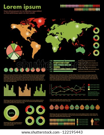 Infographic set. World Map and Information Graphics - stock vector