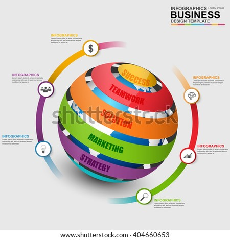 Infographic sphere vector design template. Can be used for workflow, world map, globe, timeline, diagram, global infographic, number options, design, infographic elements, information infographics. - stock vector