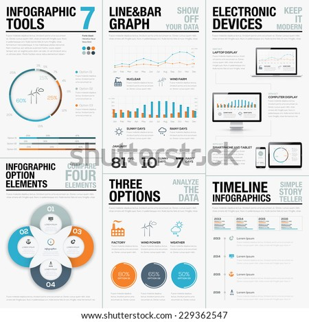 Infographic statistics business vector icons and elements - stock vector