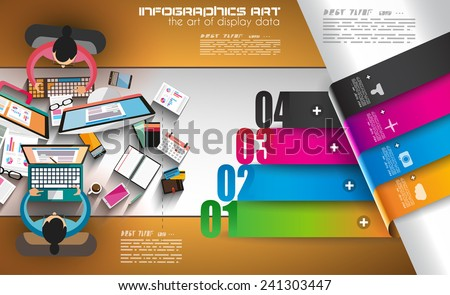 Infographic teamwork and brainsotrming with Flat style. A lot of design elements are included: computers, mobile devices, desk supplies, pencil, coffee mug, sheets, documents and so on - stock vector