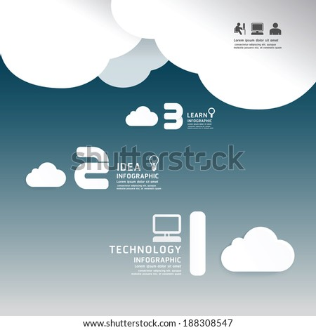 Infographic technology cloud paper cut style  template concept.vector illustration - stock vector
