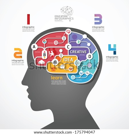 infographic Template brain social line link concept vector illustration - stock vector