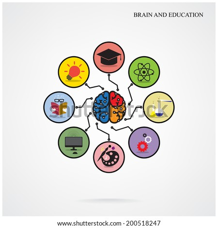 Infographic template creative brain education and science concept,Design for poster flyer cover brochure,Business idea. Vector illustration  - stock vector
