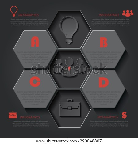 Infographic template for business project or presentation with seven segments can be used for web design, workflow or graphic layout, diagram, education - stock vector
