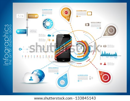 Infographic Template for Cloud computing data rapresentation. Design elements for statistic data display and resourses ranking - stock vector