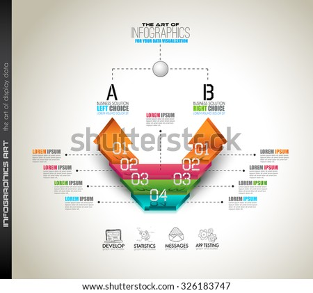 Infographic template for your business solutions presentation. A lot of Infographics elements with options over a doodle sketches background with graphs, maths formula and so on. - stock vector