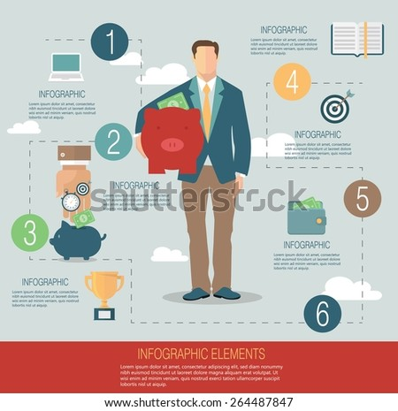 Infographic template, money concept - stock vector
