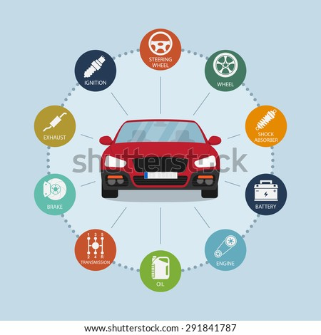 infographic template with car and car parts icons, service and repair concept - stock vector