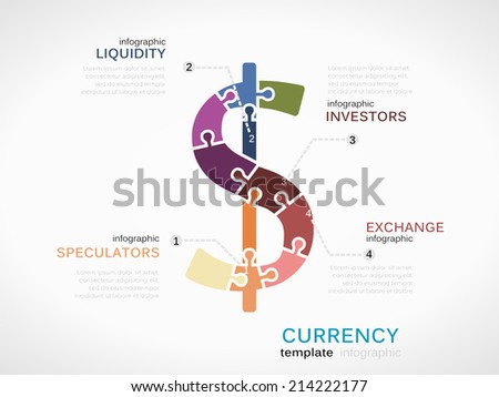 Infographic template with Dollar currency symbol made out of puzzle pieces - stock vector