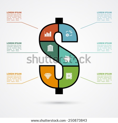 infographic template with dollar sign and finance icons, finance, investment concept - stock vector