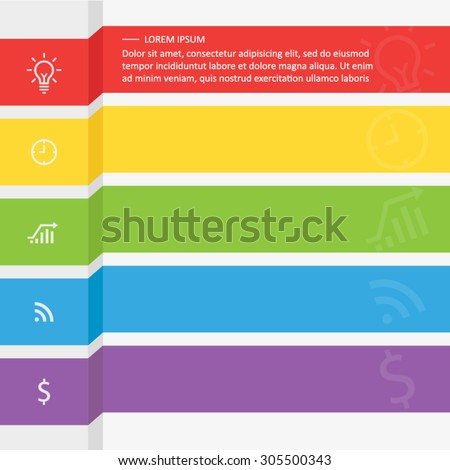 infographic template with five colored ribbons - stock vector