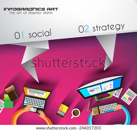 infographic template with flat UI icons for ttem ranking. Ideal to use for marketing studies display, features ranking, strategy illustrations, seo optimization and social media.  - stock vector