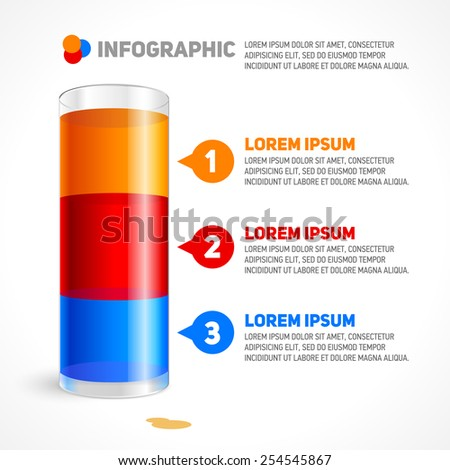Infographic Template with glass. Colorful - stock vector