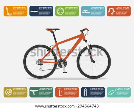 infographic template with mountain bike and icons, flat style illustration - stock vector