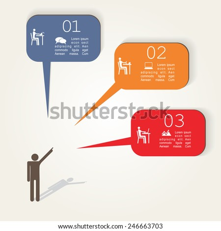 Infographic template with Pointing hands and text. Vector Illustration - stock vector