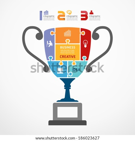 infographic Template with trophy jigsaw banner . concept vector illustration - stock vector