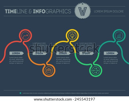 Infographic timeline. Time line of tendencies and trends. Vector web template with icons and design elements on dark background. - stock vector
