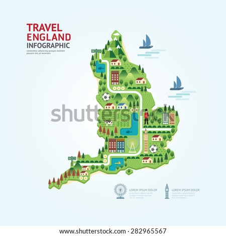 Infographic travel and landmark England,United Kingdom map shape template design. country navigator concept vector illustration / graphic or web design layout. - stock vector