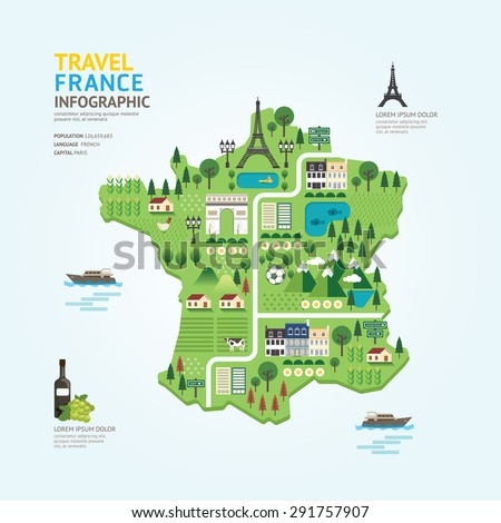 Infographic travel and landmark france map shape template design. country navigator concept vector illustration / graphic or web design layout. - stock vector