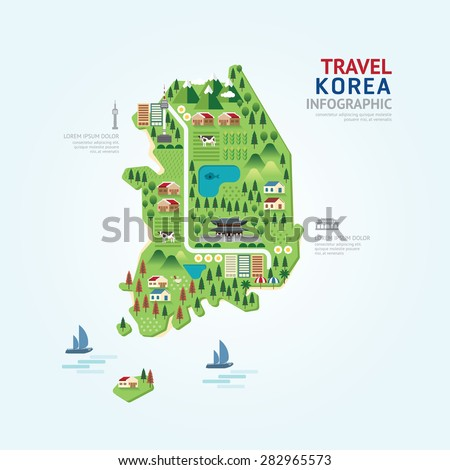 Infographic travel and landmark korea map shape template design. country navigator concept vector illustration / graphic or web design layout. - stock vector