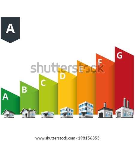 Infographic vector illustration of buildings energy efficiency classification with house, office and factory.  - stock vector