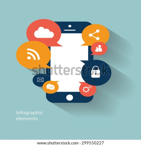 Infographic vector mobile phone icon with social media icons  - stock vector