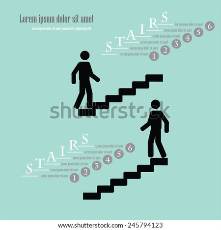 infographic vector of man on stairs  icon,man walk on stair vector,business man    - stock vector