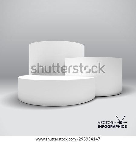 Infographic vector white 3D pedestal or graph - stock vector