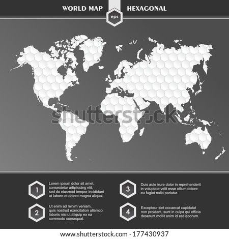 Infographic white World Map symbols and typography - stock vector