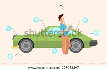 Infographic with car - stock vector