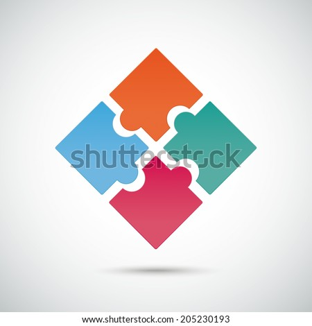 Infographic with colored puzzle pieces on the grey background. Eps 10 vector file. - stock vector